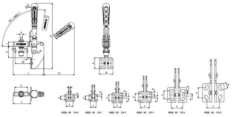 KUKAMET Vertikalspanner bzw. Senkrechtspanner oder Kniehebelspanner mit Winkelfuß