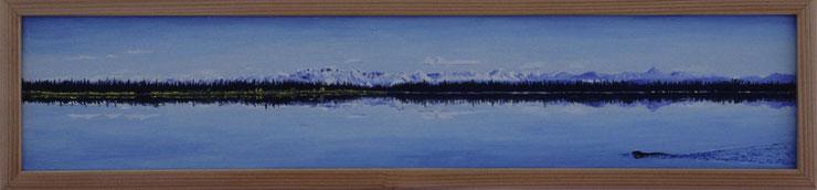 Bild:Midway,Lake,Alaska,See,Tannen,Wald,Spiegel,Schnee,Berge,Wrangell,St.Elias,Nationalpark,Panorama,d-t-b.ch,d-t-b,David Brandenberger,Biber,dave the beaver,Ölbild,Malerei,Ölfarbe,