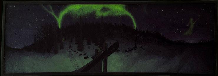 Bild:Northernlighta adventure,Husky,Nordlicht,d-t-b.ch,d-t-b,David Brandenberger,Biber,dave the beaver,Ölbild,Malerei,Ölfarbe,