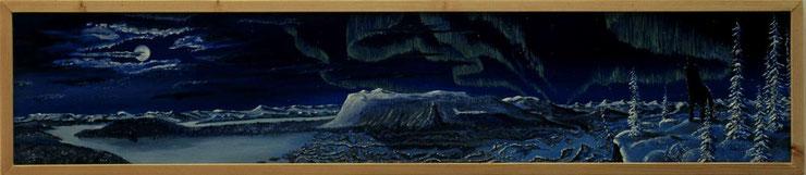 Bild:Lone Wolf,Wolf,Einzelgänger,Panorama,Nordlicht,Wolken,Sarek,Nationalpark,Schweden,Lapland,Rapadalen,Mond,Vollmond,Winter,Schnee,Doppelbild,Frau,Nacht,d-t-b.ch,d-t-b,David Brandenberger,Biber,dave the beaver,Ölbild,Malerei,Ölfarbe,