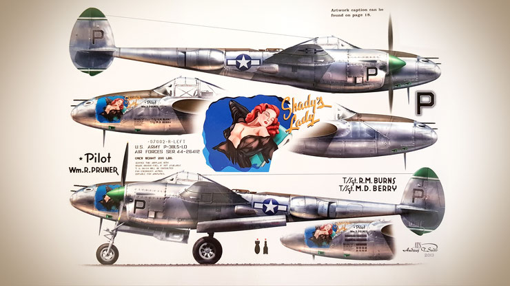 """Lockheed P-38  L5-L0 """"Shady's Lady"""" decals 1/32 from Kagero set -Pacific Lightnings I part."""