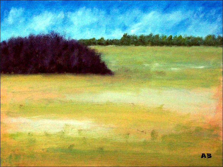 Feldlandschaft, Ölgemälde, Wald, Feld, Wiese, Bäume, Landschaftsmalerei, Ölmalerei, Landschaftsbild, Ölbild