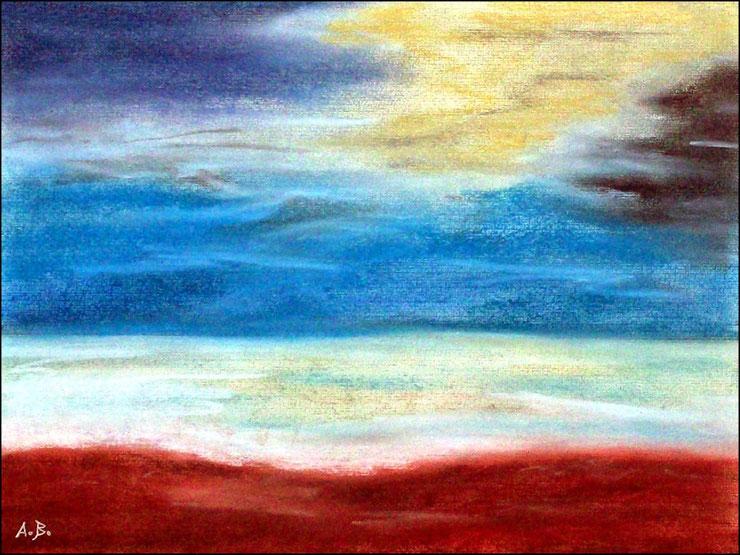 Strandlandschaft, Pastellgemälde, Meer, Strand, Wellen, Wolken, Himmel, Pastellmalerei, Meerlandschaftm, Pastellbild