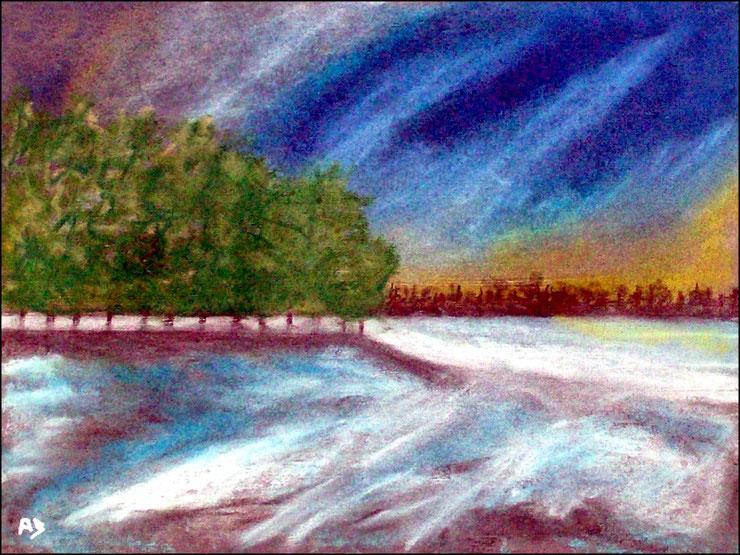 Bäume am See, Pastellgemäldem, Sonnenuntergang,Wald, Bäume, See, Schnee, Eis, Winter, Pastellmalerei, Pastellbild