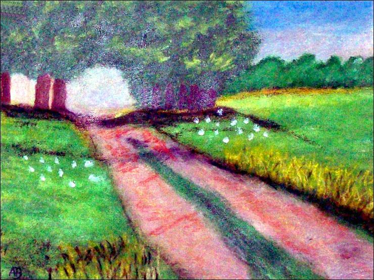 Feldweg im Sommer, Acrylgemälde, Bäume, Blumen, Wiese, Feld, Feldweg, Landschaftsbild, Gras, Acrylmalerei, Acrylbild