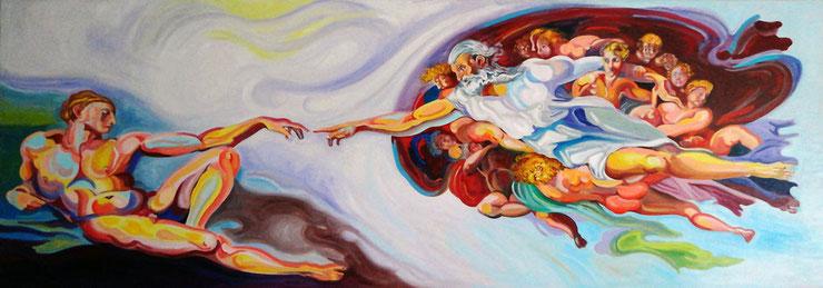 LA CREACION (MADRID). Huile sur toile. 70 x 200 x 3,5 cm.