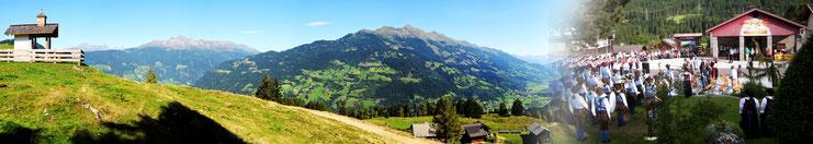 Blick von der Lainacher Kuhalm ins Tal und auf unseren Dorfplatz