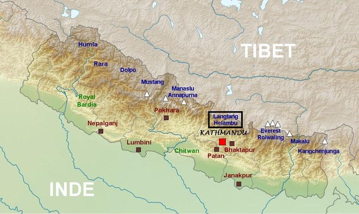 Plan de localisation du Langtang