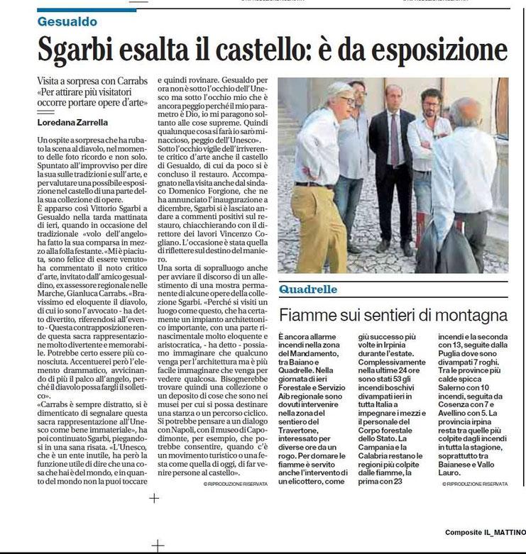 30 AGOSTO 2015. Sgarbi in visita al Castello di Gesualdo in occasione del Volo dell'Angelo