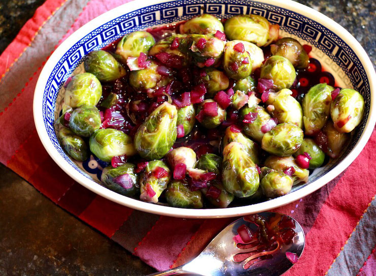 The secret ingredient to the BEST Brussels Sprouts recipe? Grape juice! It adds sweetness to my favorite Brussels Sprouts recipe that's heart healthy. #glutenfree #vegetarianrecipes #veganrecipes
