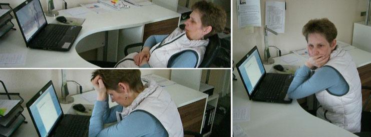 Schriftstellerin Katy Buchholz sitzt vor dem Computer und ist verzweifelt, weil sie eine Schreibblockade hat.