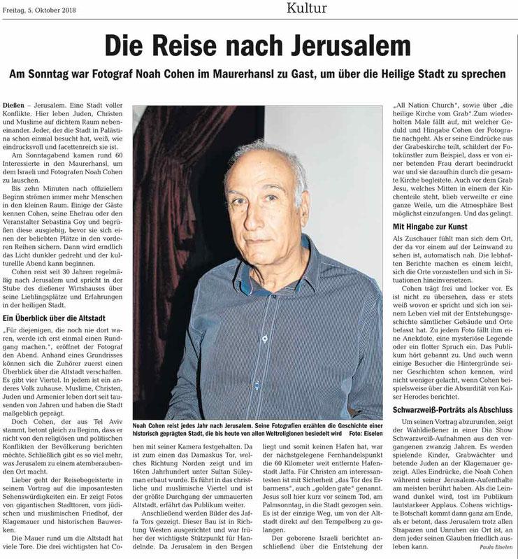 von Paula Eiselen, Ammersee Kurier, 5.10.2018
