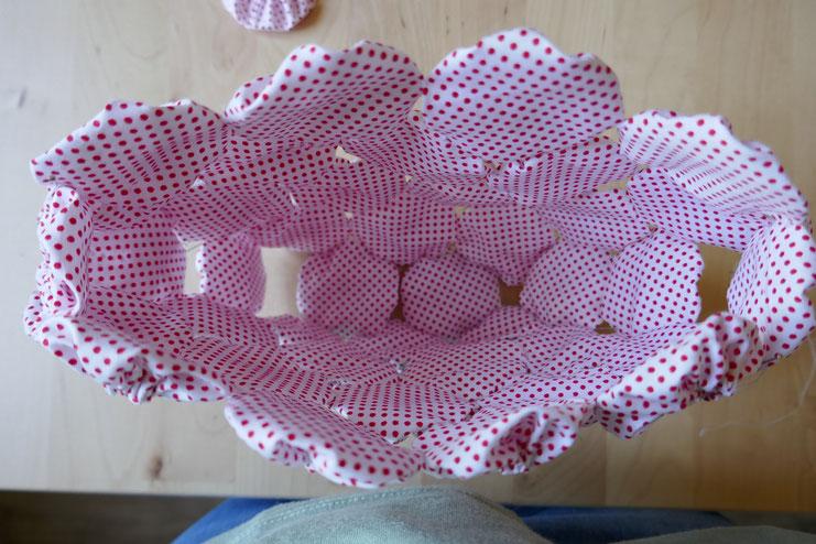 Vue de l'intérieur avec 8 yoyos placés pour l'assemblage