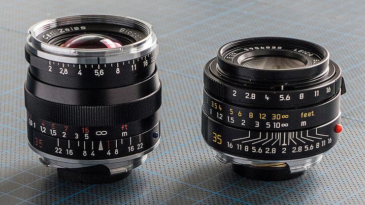 Praxisvergleich: Rechts das Leica Summicron-M 2,0/35 mm Aspherical, links daneben das Zeiss Biogon T* ZM 2,0/35 mm, Weitwinkel-Objektive für LEICA M, Foto: Klaus Schörner
