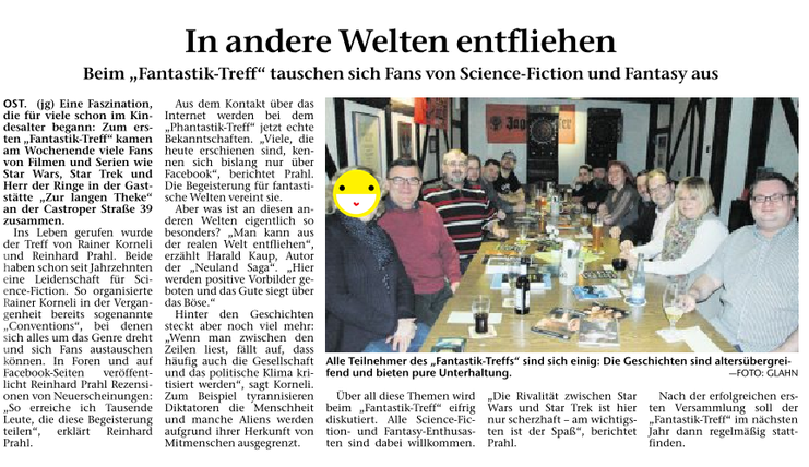 Artikel über unser erstes Treffen in der Recklinghäuser Zeitung am 13.11.2017