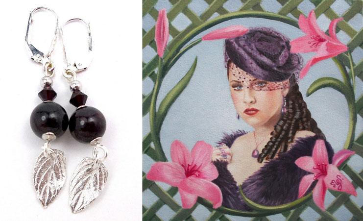 photo-montage-boucles-oreilles-en-argent-perles-en-grenat-tableau-portrait-jeune-femme-allure-baroque-bibi-voilette-bouclettes-robe-fourrure-violette