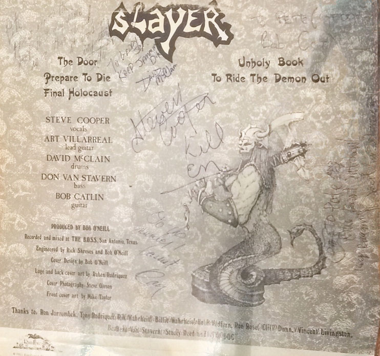 Slayer (later S.A. Slayer), signed LP, Steve Cooper (died 2006), Bob Catlin, David Mc Clain and three others, LP bought