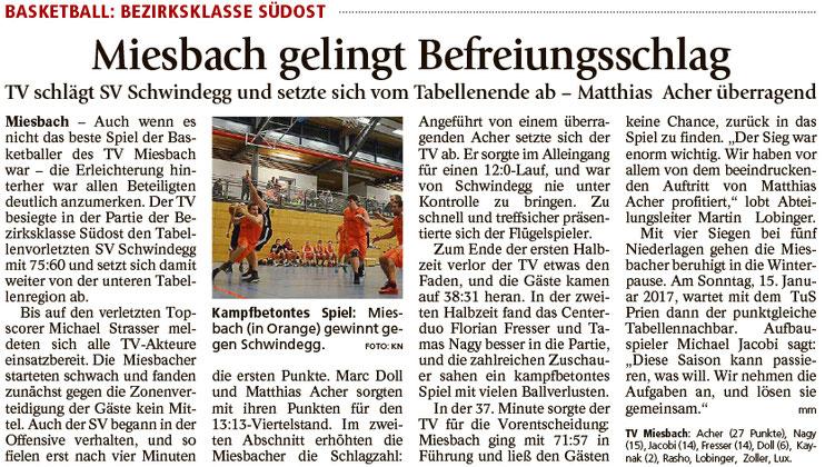 Bericht im Miesbacher Merkur am 21.12.2016 - Zum Vergrößern klicken