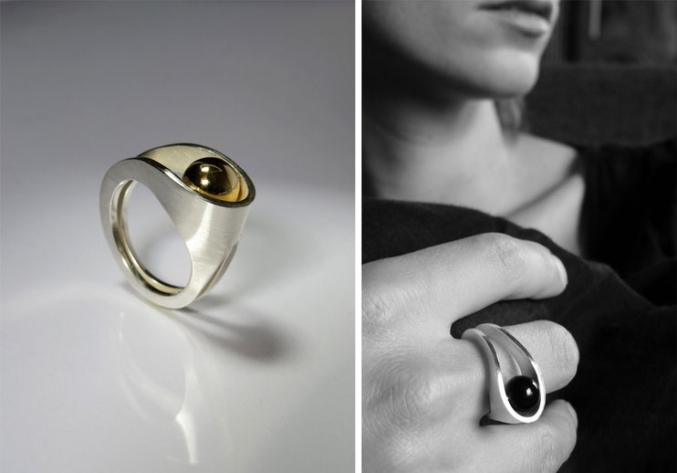 Ring Lascive - silver, yellow gold pearl - Nelly Chemin - contemporary jewelry