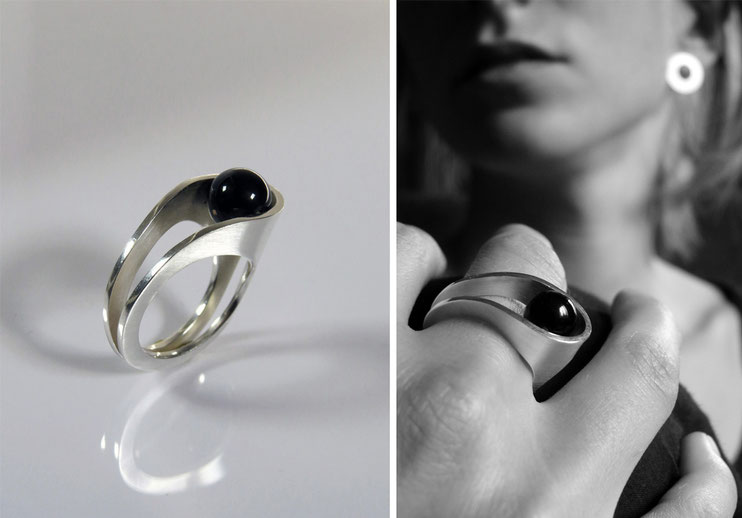 Bague Lascive - argent et agate noire - Nelly Chemin - bijoux contemporains