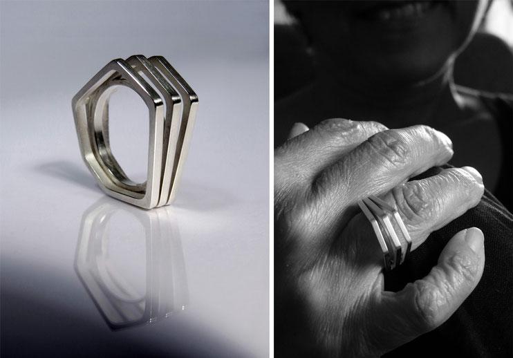 Bague Un, deux, trois... -  argent - Nelly Chemin  - bijoux contemporains