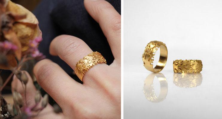 Bague Lascive - argent et or massif - Nelly Chemin - bijoux contemporains
