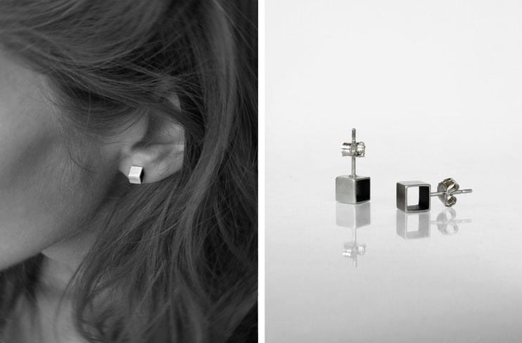Boucles d'oreilles CUBE - argent - Nelly Chemin - bijoux contemporains