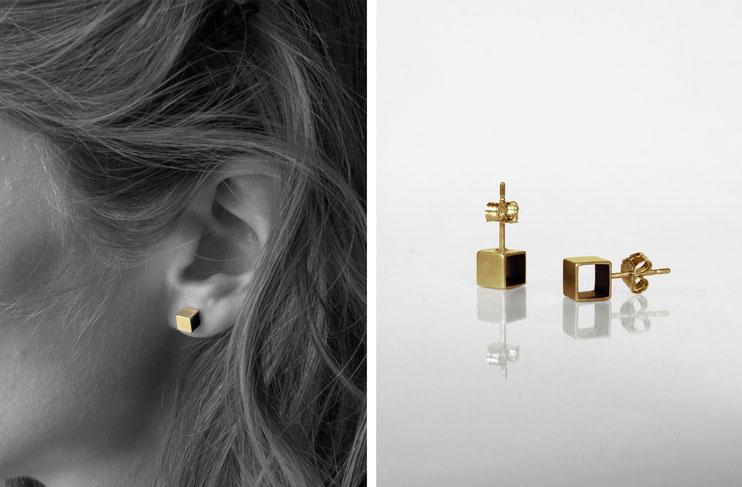 Boucles d'oreilles CUBE - laiton doré à l'or fin - Nelly Chemin - bijoux contemporains