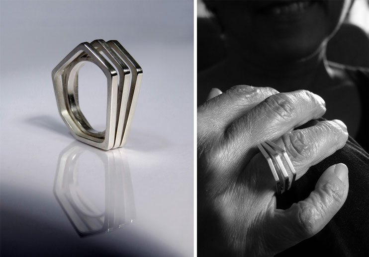 Ring Un, deux, trois  silver - Nelly Chemin  - contemporary jewelry
