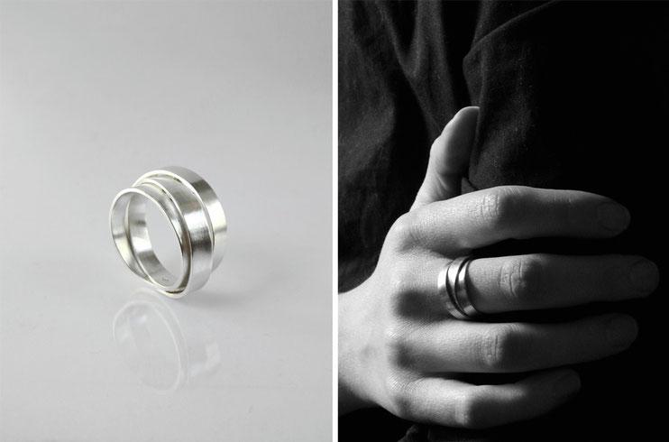 Bague Lien, homme et femme, mixte, enroulement, infini, trio, croisement, union - argent - Nelly Chemin - bijoux contemporains