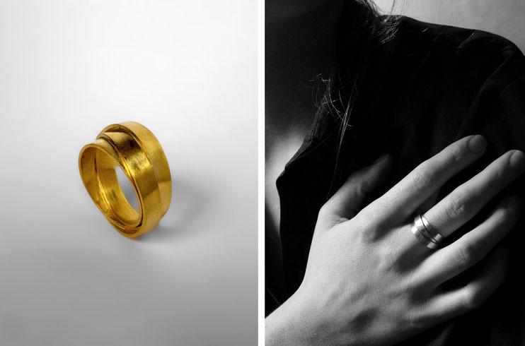 Bague Lien, homme et femme, mixte, enroulement, infini, trio, croisement, union - Nelly Chemin - bijoux contemporains