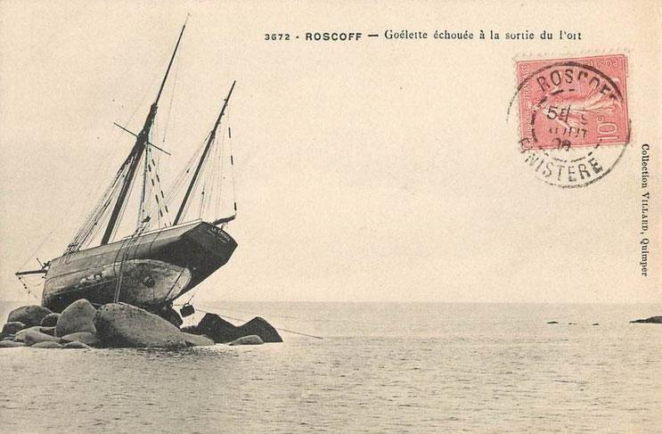 Carte postale de 1905 du dundée Chouan échoué (CAP coll Villard)