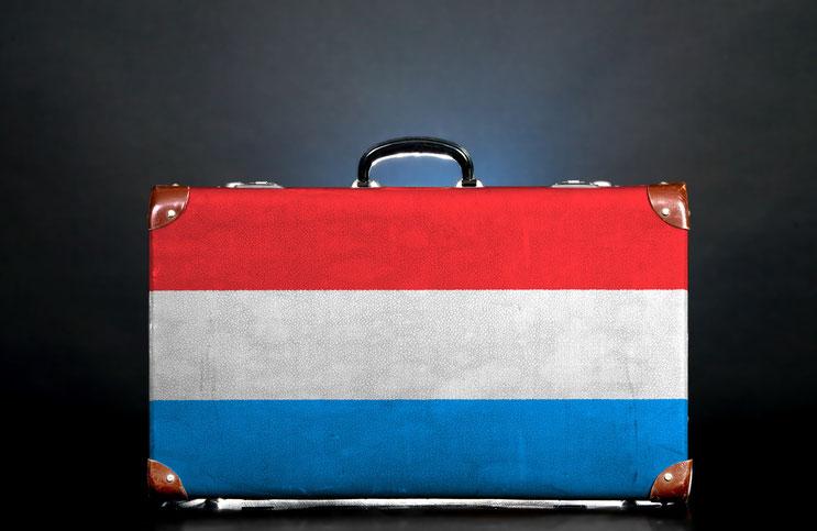 Koffer mit Luxemburg-Flagge; Detektiv Luxemburg, Detektei Luxemburg, Privatdetektiv Luxemburg