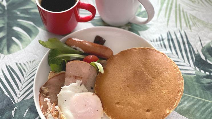 KALDIホットケーキで朝食