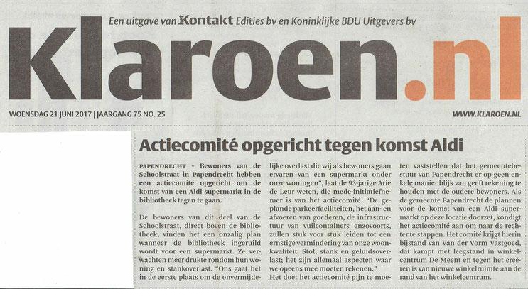 Artikel verschenen in de Klaroen op 21 juni 2017