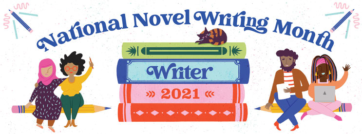 These are the official graphics provided by NaNoWriMo for participants to use on social media!