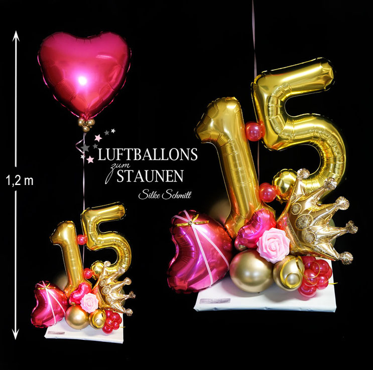 Luftballon Ballon Zahl Geburtstag Mädchen 14 13 15 18 16 17 pink Helium  Heliumballon Herz Krone Prinzessin Princess Queen mit Namen Personalisierung Versand personalisiert Geburtstagskind Geschenk Überraschung Mitbringsel Geldgeschenk Rose Deko Dekoratio