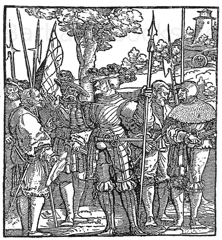 Hauptmann und Knechte im Anfang des 16. Jhd. Holzschnitt von Schäufelin (1480-1540). Berlin.