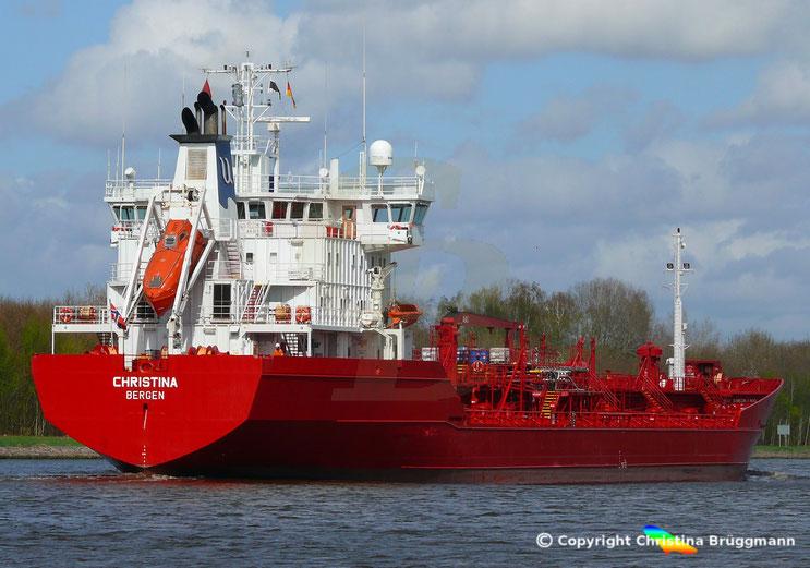 Chemie- / Öltanker CHRISTINA, Nord-Ostsee Kanal 24.04.2018
