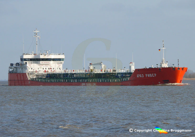 Tanker ARAZ RIVER, Elbe 08.04.2015