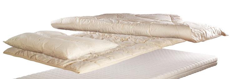 biologische Kissen, Zudecken, Unterbetten