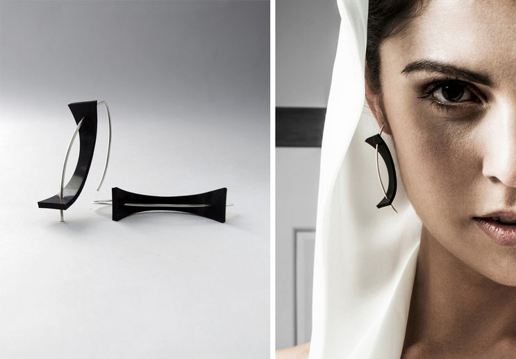 Earring Equilibre  - silver and rubber - Nelly Chemin - contemporary jewelry