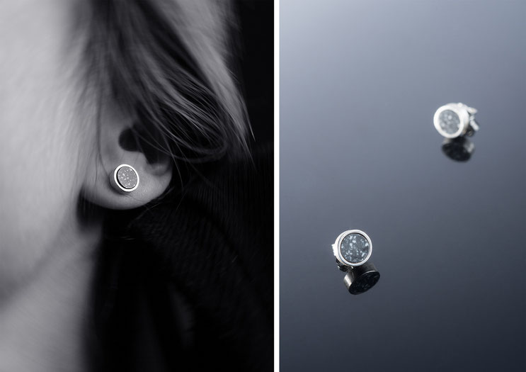 'Isis' earrings - silver and corian - Nelly Chemin - bijoux contemporains
