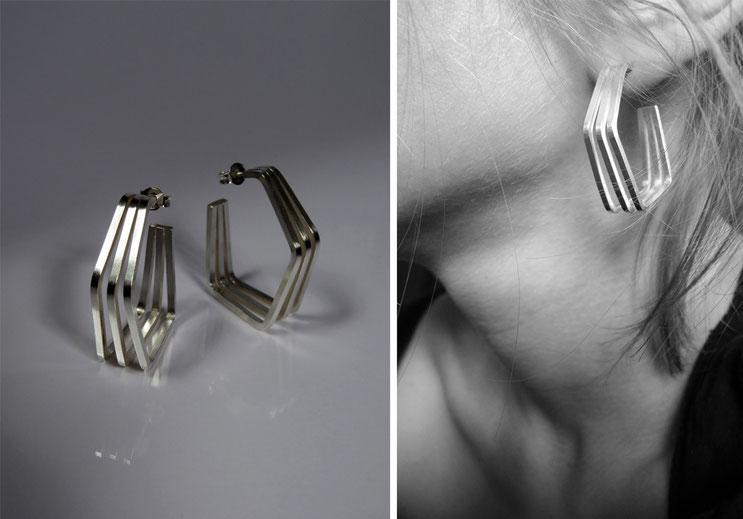 Boucle d'oreille Un, deux, trois... -  argent - Nelly Chemin  - bijoux contemporains