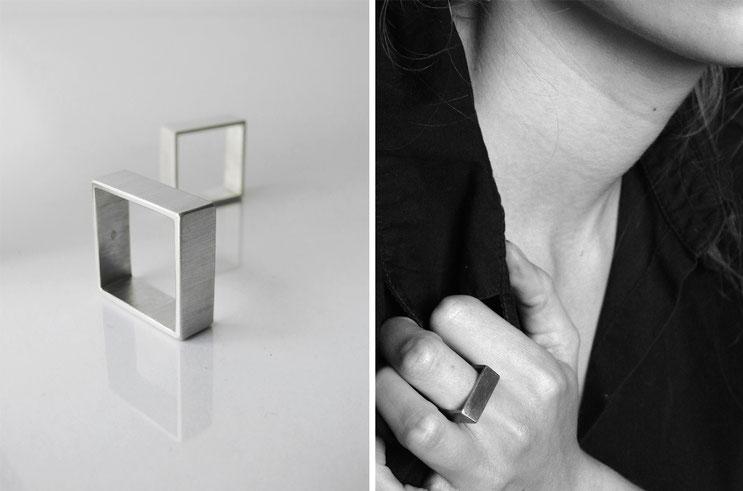 Bague Carrée, homme et femme, mixte, cube, minimaliste, géométrique - argent - Nelly Chemin