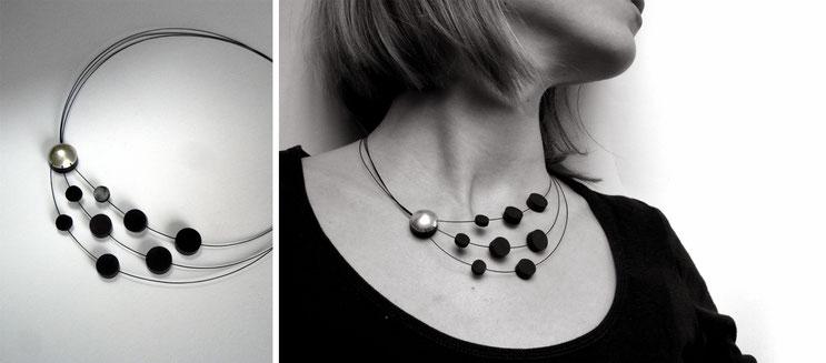 Collier Crescendo - argent, caoutchouc et fermoir aimant - Nelly Chemin - bijoux contemporains