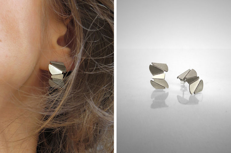 FACE-A-FACE earrings,  silver recycled, Nelly CHEMIN faceted, organic, irregular, prism, triangle, geometric, scales