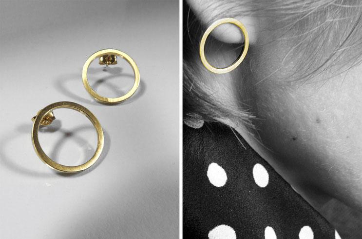 """Boucles d'oreilles """"O""""  - laiton doré à l'or fin - Nelly Chemin - contemporains  jewelry"""