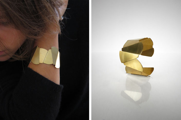 FACE-A-FACE necklace,   brass gilded with  fine gold, Nelly CHEMIN faceted, organic, irregular, big, wide, prism