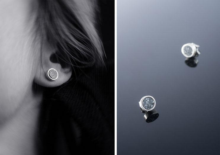 Boucles d'oreilles Isis - argent et corian - Nelly Chemin - bijoux contemporains